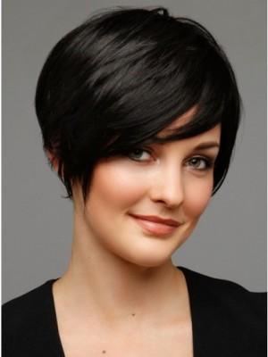 Perruque Fine Courte Noire De Cheveux Naturels,